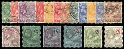 Antigua 1921 KGV set complete including all listed shades VF used. SG 62-80.