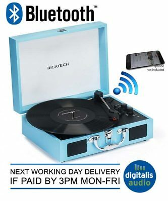 Ricatech RTT21 Bluetooth Portable Attache 3 Speed Record Player Briefcase Style