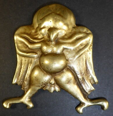 Old TIBETAN 'BRONZE' GARUDA THOKCHA THOGCHAG PROTECTION AMULET + GARUDA CLOTH