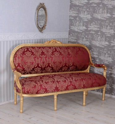 Baroque Style Sofa Rococo Bench Red Couch