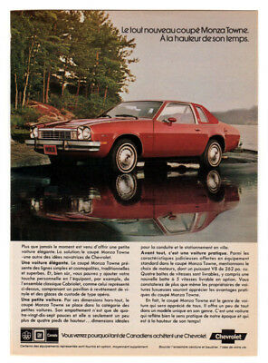 1976 CHEVROLET Monza Towne Coupe Vintage Original Print AD Red car photo Canada