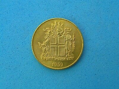 1959 Iceland 1 Krona Coin, high grade with luster, 22.3 mm