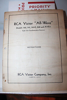 Vintage RCA Victor All-Wave Model 140 141 141-E 240 AVR-1 Manual Instructions