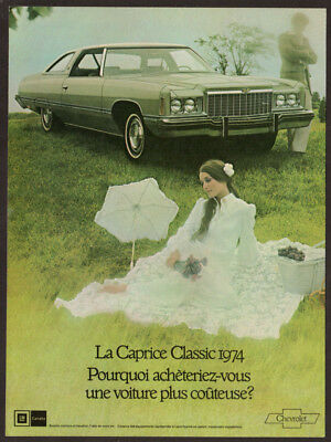 1974 CHEVROLET Caprice Classic Vintage Original Print AD - Romantic photo French