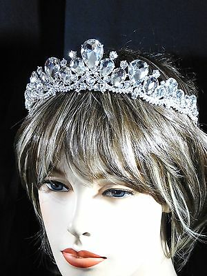 Silver Clear Rhinestone Crystal Beauty Queen Large Tiara Crown Bridal Pageant