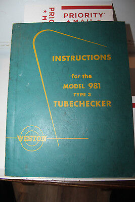 Vintage 1955 Weston Model 981 Type 3 Tubechecker Manual Instructions Rare