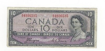 **1954 Devil's Face**Canada $10 Note, Coyne/Towers BC-32a, Ser# BD 4936535