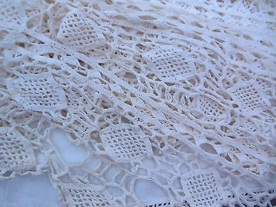 """Antique Heavy 9"""" Wide Hand Crocheted White Lace Trim 8 Continuous Yards"""