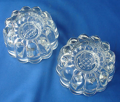 Princess House set of 2 taper reversible pillar candle holders clear glass 0486
