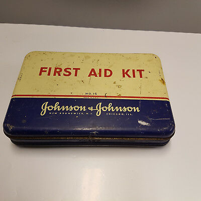 Rar Alte Blechdose Johnson & Johnson First Aid Kit Verbandskasten 30er Jahre USA