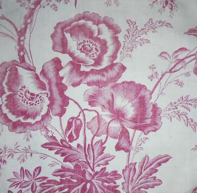 BEAUTIFUL GENTLY FADED 19th CENTURY FRENCH FINE LINEN TOILE DE JOUY, POPPIES