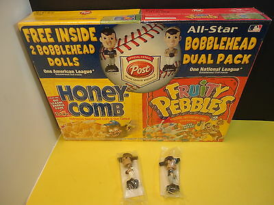 2002 post cereal box set with 2 MLB all star bobbleheads Fruity Pebbles