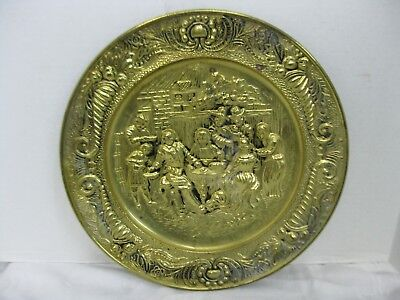 Vintage Brass Hammered Embossed Wall Decorative Plate Pub Scene 14.5""