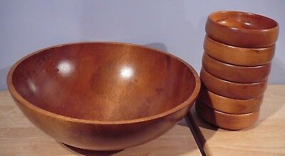 Vintage 7 piece Baribocraft Canada Wood Salad Bowl Set