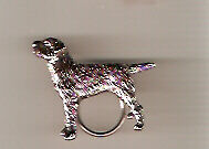 Border Terrier Nickel Silver Eyeglass Holder Pin Jewelry LAST ONE!
