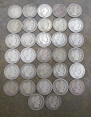 32 Different Barber Silver Half Dollars Good Condition No Reserve