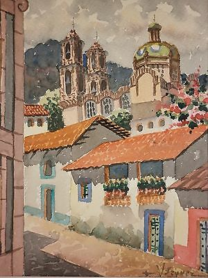 Mexican Artitst VAZQUEZ Santa Prisca Church Taxco Mexico Watercolor Painting