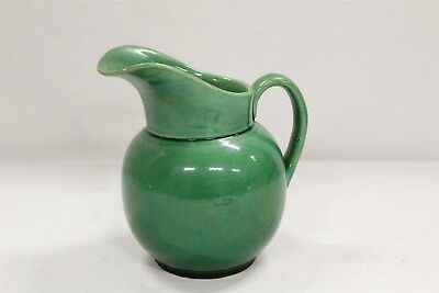 Antique Japanese Awaji Arts & Crafts Green Lipped Pottery Pitcher