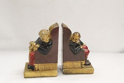 Old Armour Bronze Metal Taunton Mass Old Man Lady Bookends Art Deco