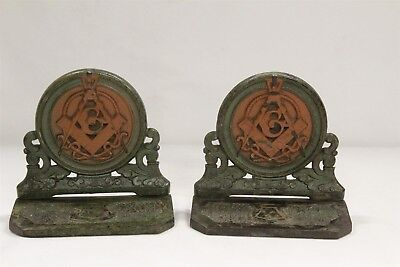 RARE Antique Bradley and Hubbard Masonic Cast Iron Art Deco Bookends