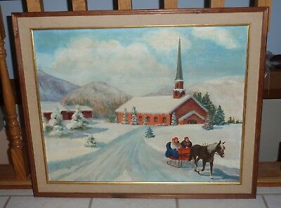 Christmas Day Oil Painting Framed Artwork Leaving Church With Horse Drawn Sleigh