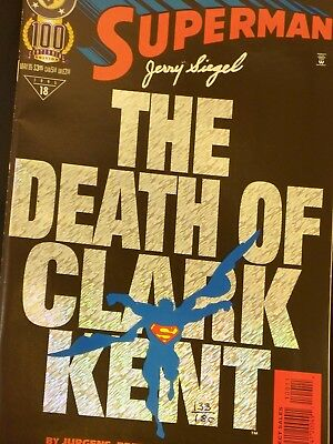 Superman #100 - mint - Death of Clark Kent - signed by Jerry Siegel #133/180