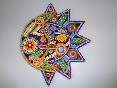 """Huichol Beaded Work Colorful Sun Moon Wall Art  8.5""""  Inches Diameter Gorgeous"""