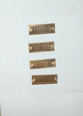 4 Small Brass Gas Engine Tags Battery (2), Magneto, and Dynamo