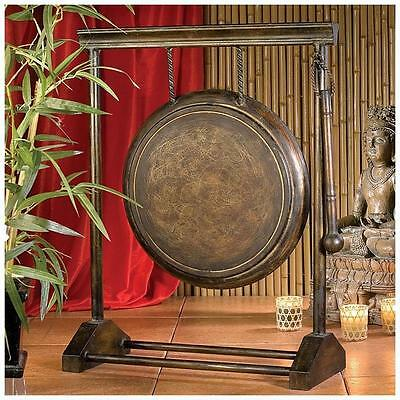 "Authentic 24"" Asian Art Metal Gong Feng Shui Replica Decor W/ Beater Mallet"