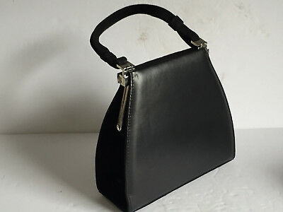Genuine STUART WEITZMAN 2 Side Black Suede and Polished Handbag Cross Body Strap