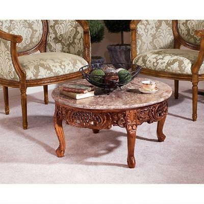 Hand-carved Solid Hardwood & Marble Antique Replica Louis XV Coffee Table