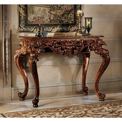 Elegant Griffin & Greenman Antique Replica Hand Carved Mahogany Console Table