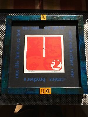 U2 - Block Print Art - Signed, Numbered, Matted, and Framed