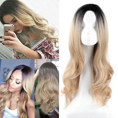 Fashion Wigs Long Wavy Curly Ombre Black/Blonde Natural Hair Lady's Full Wig