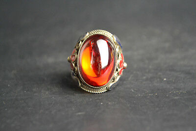 Collectible Old Cloisonne Carve Flower Inlay Natural Red Jade Adjustable Ring