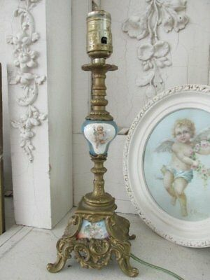 EXQUISITE Old French TABLE LAMP Precious CHERUBS Ornate Footed Base Shapely