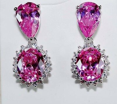 10CT Pink Sapphire & White Topaz 925 Genuine Sterling Silver Earrings Jewelry