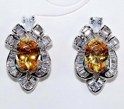 4CT Yellow Sapphire & Topaz 925 Solid Genuine Sterling Silver Earrings jewelry