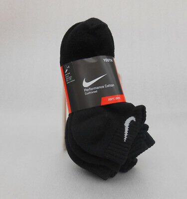 NIKE Performance Cotton Cushioned Low-Cut Socks SX4720-001 Black 3-Pack Sz 5Y-7Y