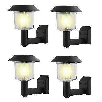 8 x Solar Power Wall Light Fence DEL Outdoor Lighting Powered Garden Black