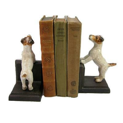 JACK RUSSELL CAST IRON BOOKENDS Collectible Heavy Fox Terrier Dog Book Ends NEW
