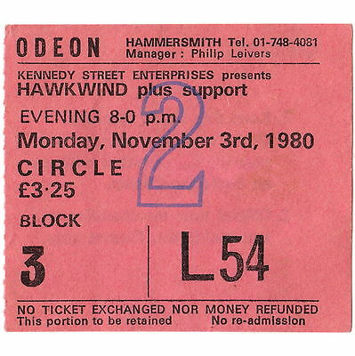 HAWKWIND Concert Ticket Stub LONDON UK 11/3/80 HAMMERSMITH ODEON NEEDLE GUN Rare