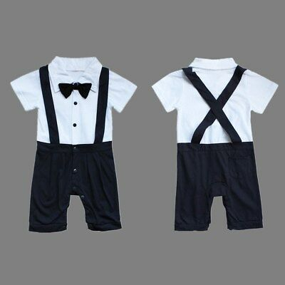 Baby Boy One-Piece Gentleman Bodysuit Romper Suspender Overall Outfits Clothes