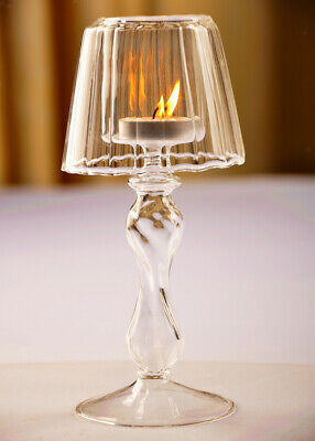 Crystal Glass Lamp Candle Holder Tealight Candlestick Wedding Centerpieces Decor