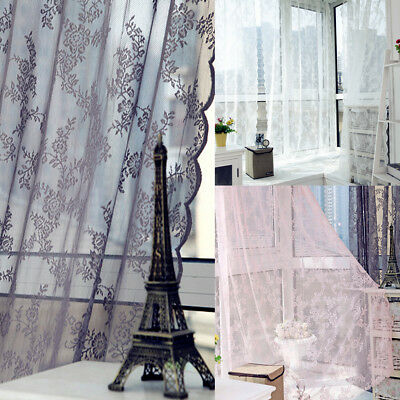 Floral Door Window Curtain Room Drape Panel Tulle Sheer Valance Balcony Decor
