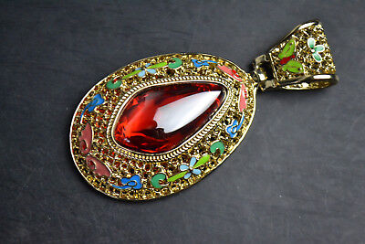 China Style Decor Old red Jadehandwork Cloisonne Delicate Noble Pendant