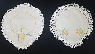 VINTAGE DOILEYS x 2, 1930's - 40's ~ SUIT COUNTRY, FRENCH, SHABBY CHIC DECOR