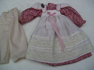 Alte Puppenkleidung Götz Apron Dress Outfit vintage Doll clothes 50 cm Girl