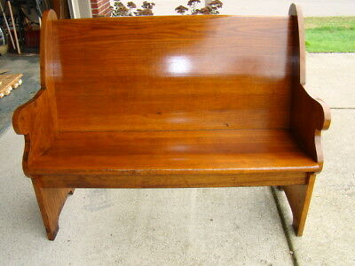 "43 1/2"" Antique Oak church bench from Chicago church/ 100+ yrs old/"