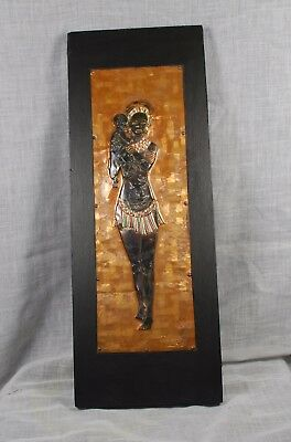 African Wall Art, Mother and Infant Wall Art in Pressed Enameled Copper.